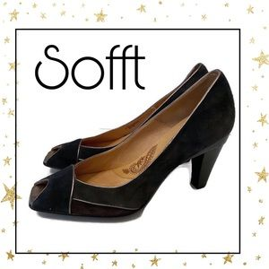 Sofft Navy Wine Suede Leather Perp Toe Heels 9